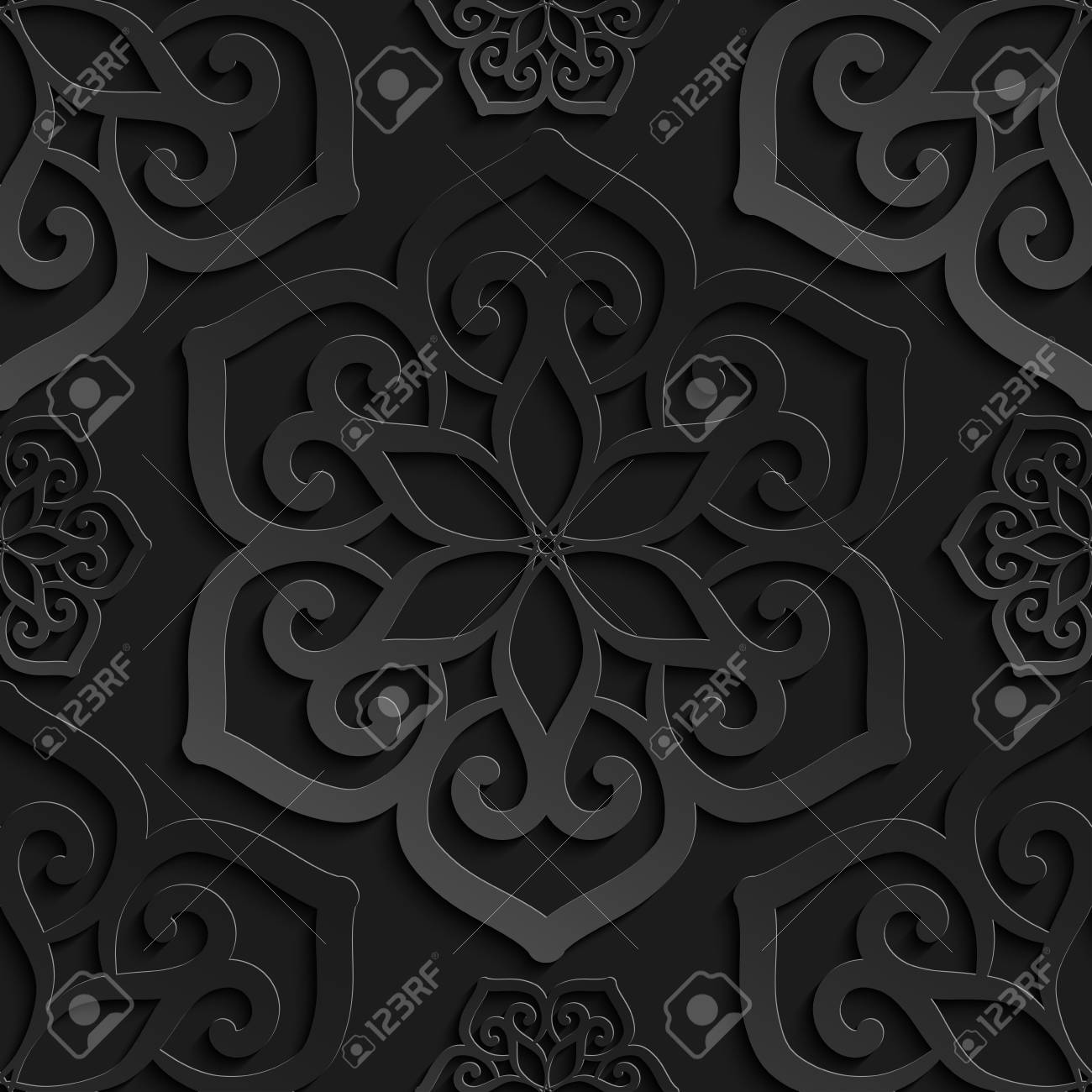 Seamless Pattern Black 3d Paper Mandala Lace Element 3d Wallpapers