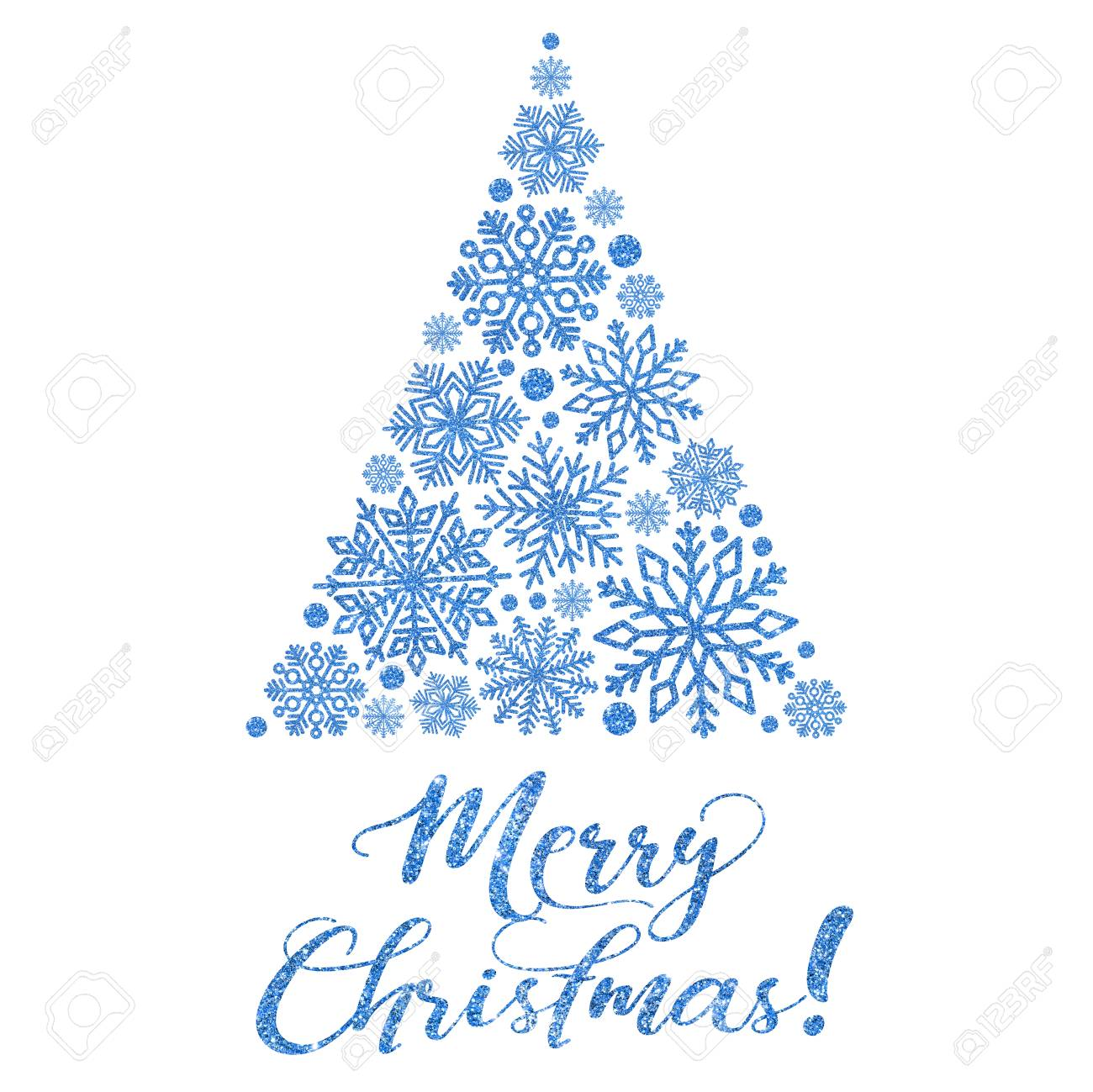 Greeting Card With Bright Blue Text And Abstract Christmas Tree On A ...