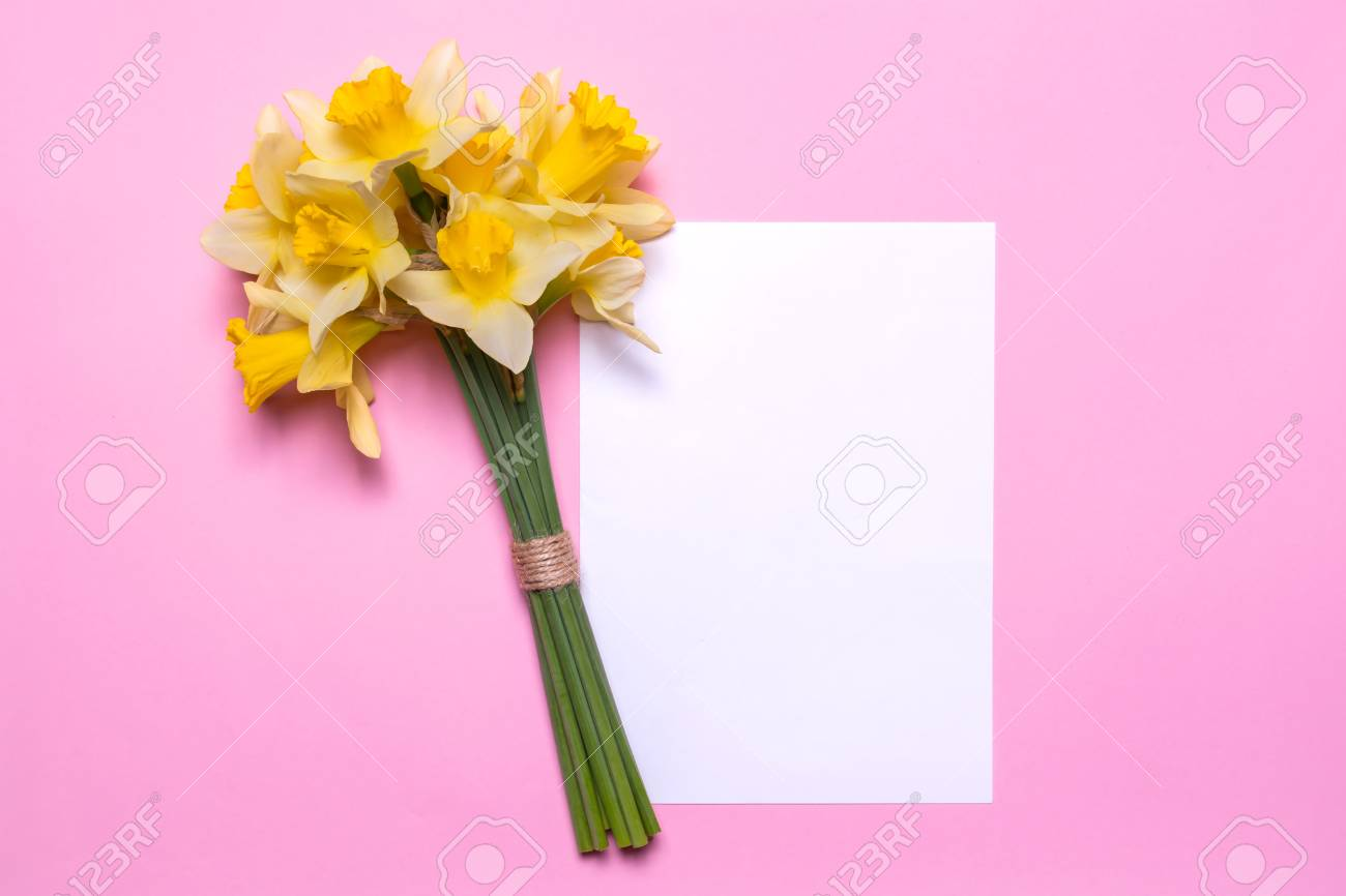 A Bouquet Of Daffodils And A Sheet Of White Paper On A Pink