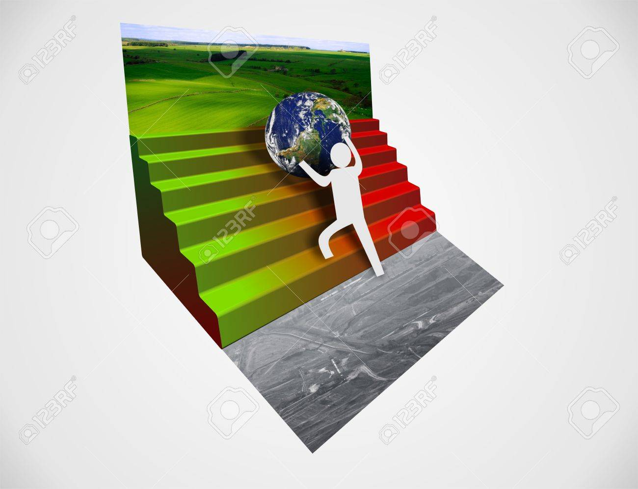 man protecting earth from destruction Stock Photo - 19551032