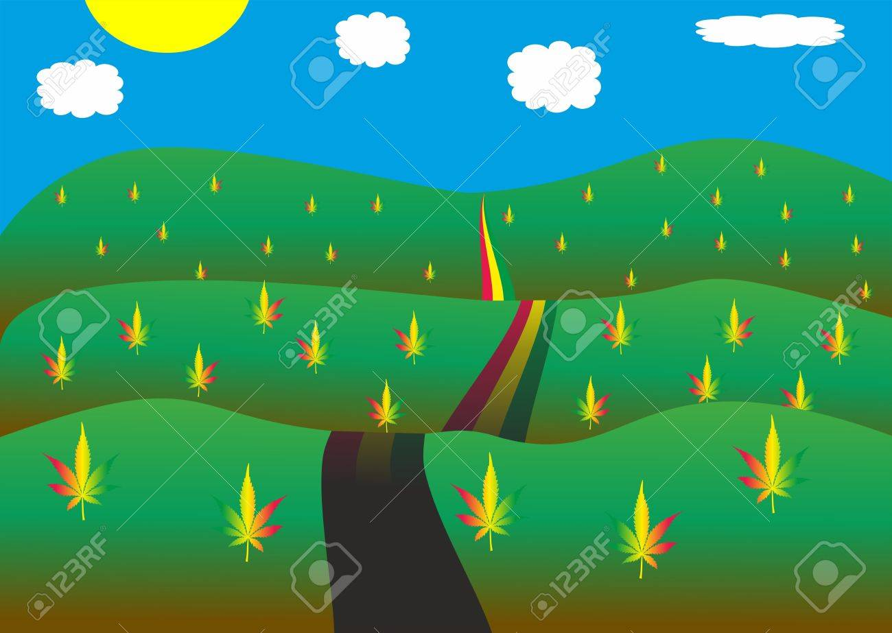 Road in cannabis landscape Stock Vector - 19825590