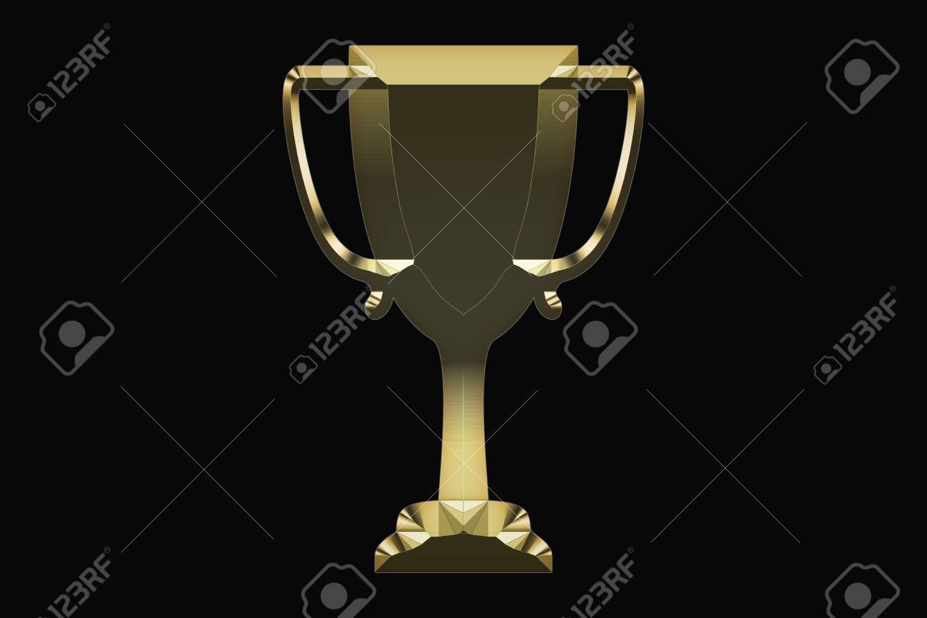 Gold Trophy On A Black Background Stock Photo