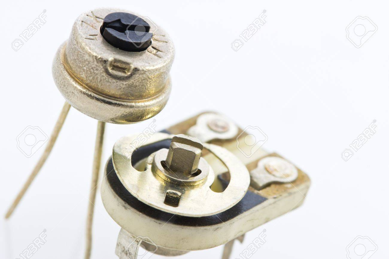 Two Precision Variable Resistors For Assembly To The Circuit Resistor Stock Photo With A Plastic Nozzle Easy Setup