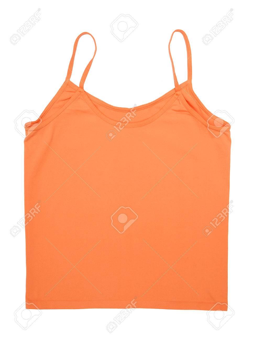 Un débardeur orange est sur fond blanc