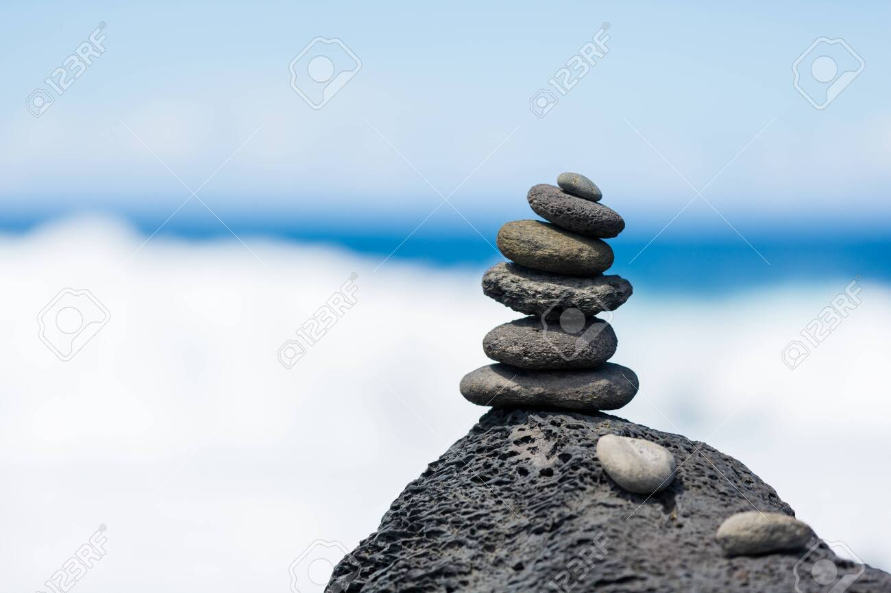 Concept Of Harmony And Balance Rock Zen On A Background Of Rocks