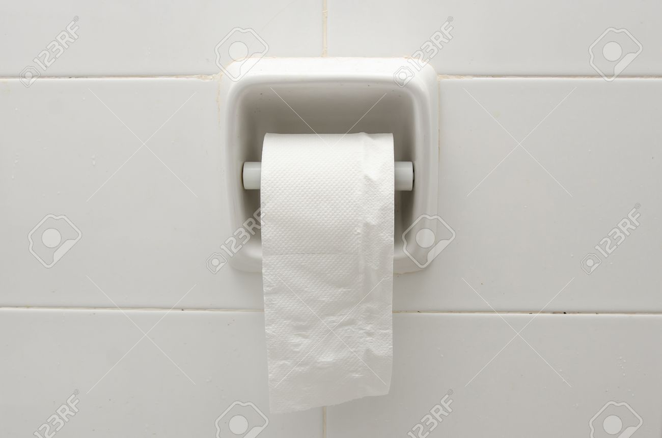 White Ceramic Toilet Paper Holder Stock Photo Picture And Royalty