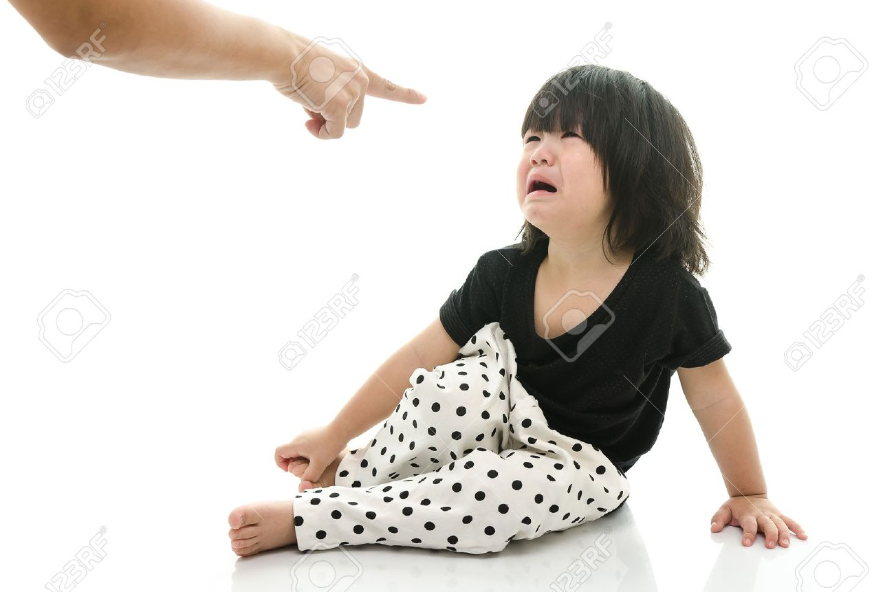 Asian baby crying while mother scolding on white background isolated - 37578227