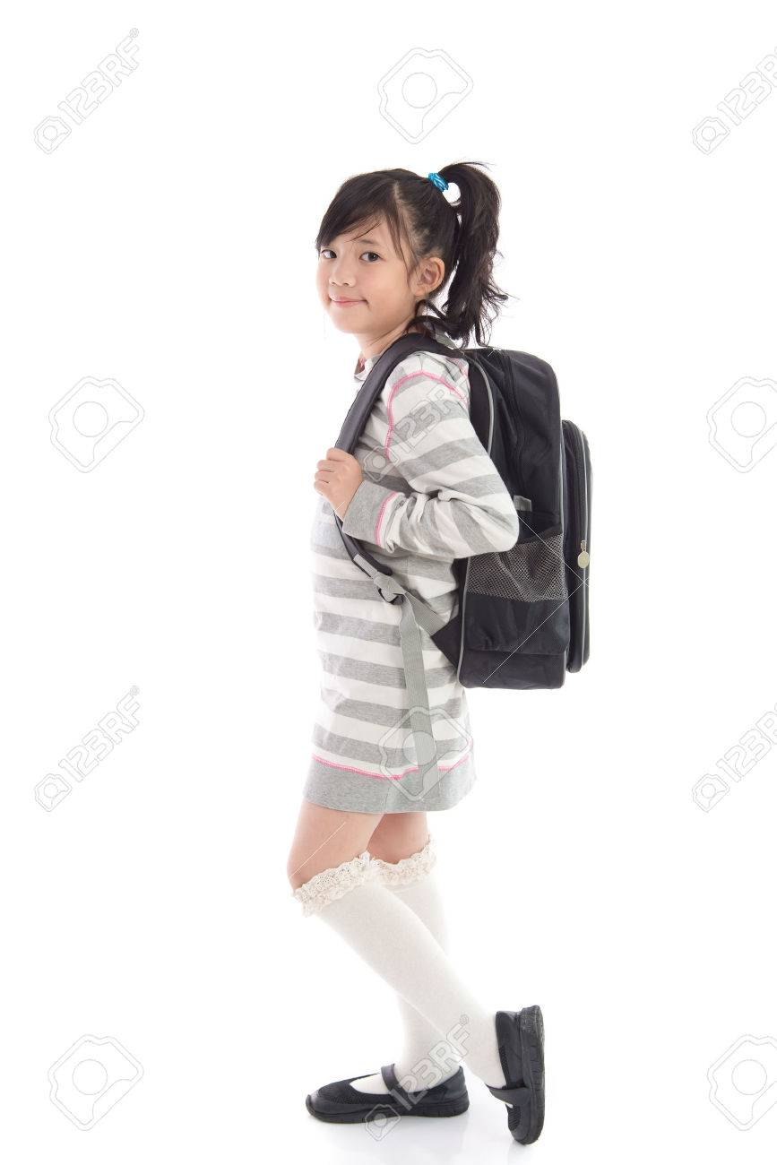 88ca95969f05 Beautiful asian school girl with backpack on white background..