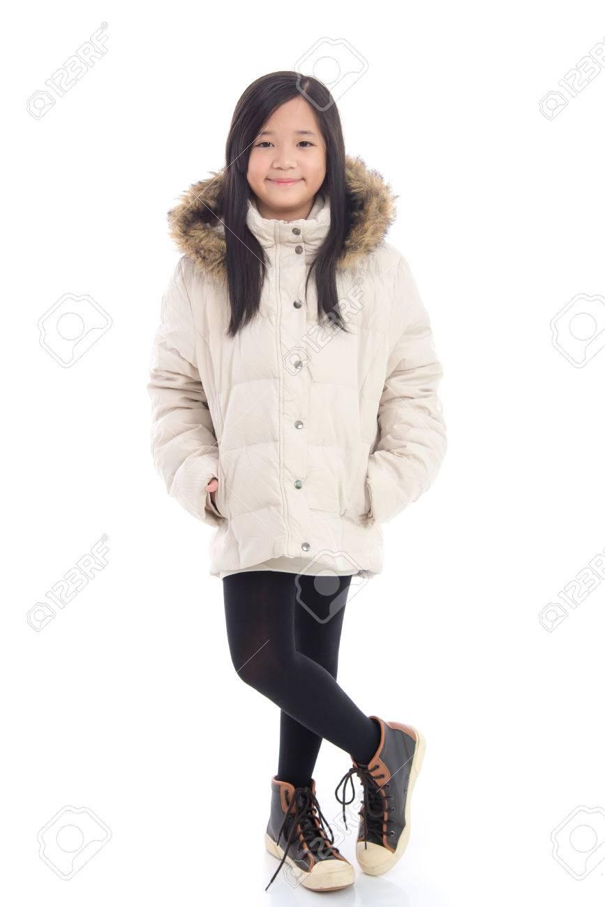 Belle Asiatique Blanc D'hiver Manteau Isolé Fond Sur Fille kZuXOiP