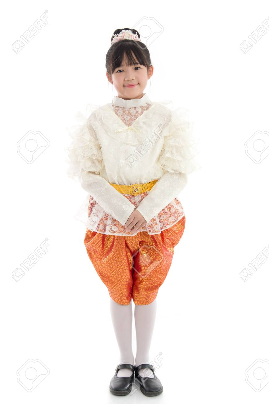 3b195edc8945b Asian girl in Thai Traditional Dress on white background isolated Stock  Photo - 50945310