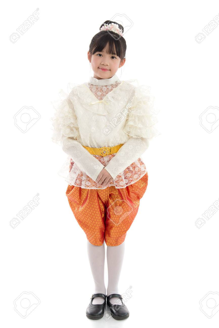 1d2e79dddfd9e Asian girl in Thai Traditional Dress on white background isolated Stock  Photo - 50945721