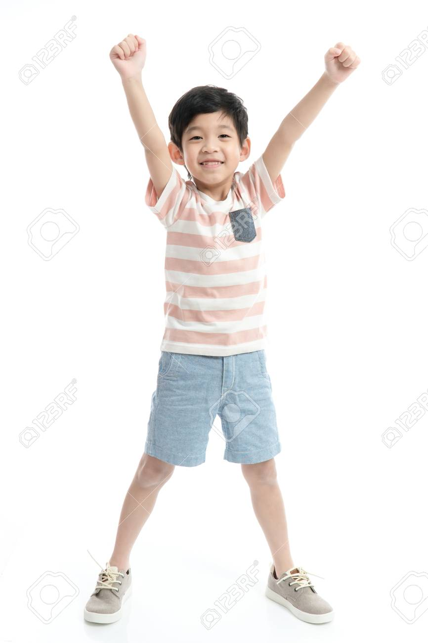 Cute Asian child showing winner sign on white background isolated - 109006115