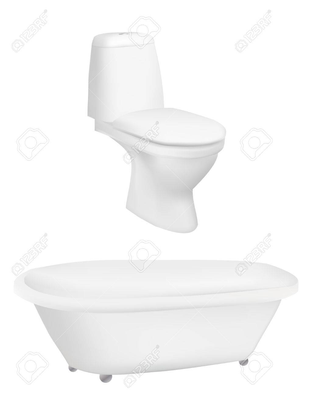 Bath and toilet on a isolated background,Vector Stock Vector - 8800284