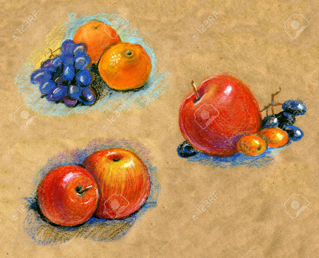 Set Obst Skizze Realismus Pastell Realismus Mandarine Mandarine