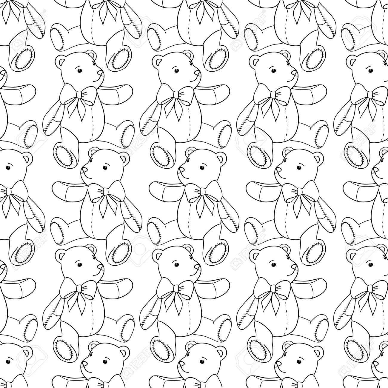Seamless pattern of contour Teddy bear on white