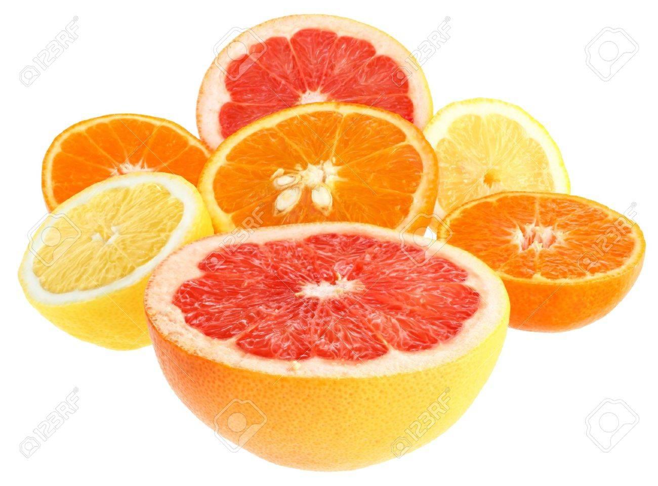 Fresh orange, grapefruit, lemon and tangerine on a white background. Stock Photo - 8912961