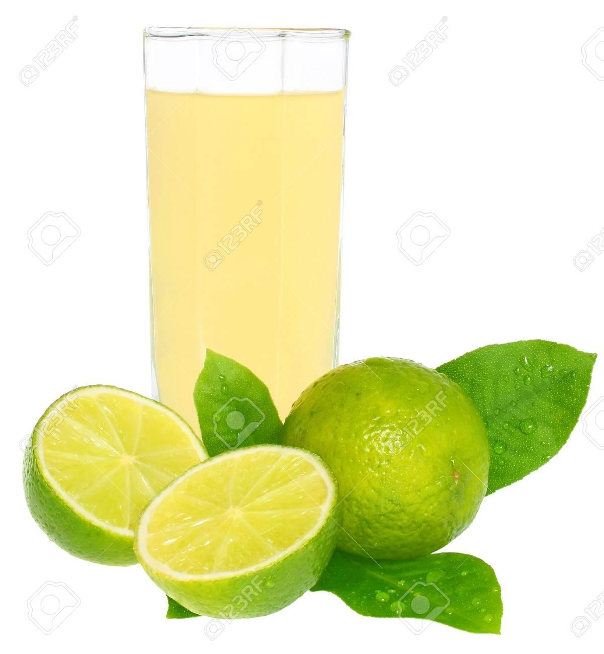 Glass of a lemon juice on a white background. Stock Photo - 10037243