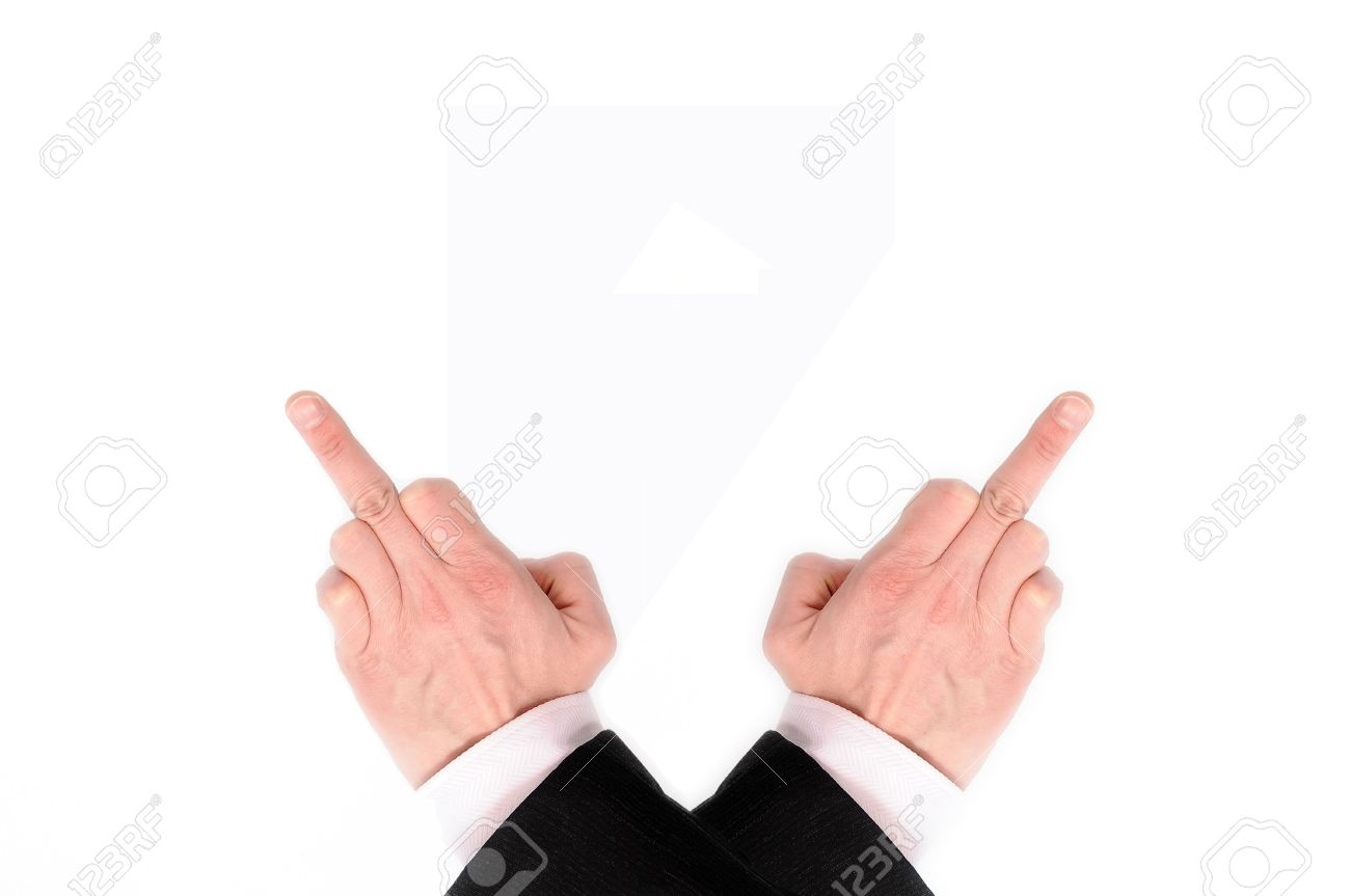 Crossed hands showing the middle fingers, isolated on a white background. Stock Photo - 5688314
