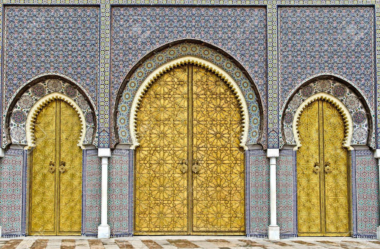 Stock Photo - the three big golden doors of the royal palace of Fez morocco & The Three Big Golden Doors Of The Royal Palace Of Fez Morocco Stock ...