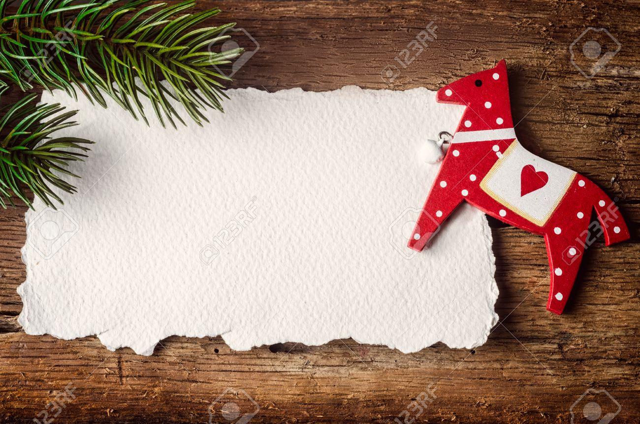 Tarjeta Blanca Para Escribir Mensajes Y Decoración De Navidad En La