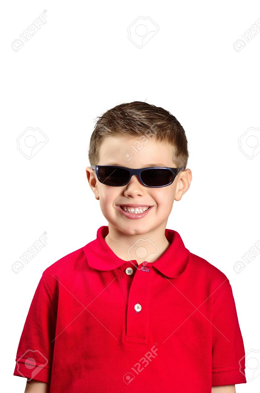 portrait of a boy with sunglasses and red sweater - 17667553