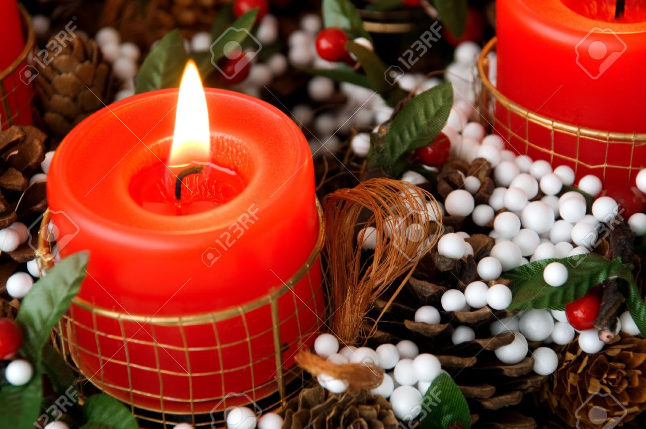 christmas candles arrangement in colorful festive themes Stock Photo - 3764668