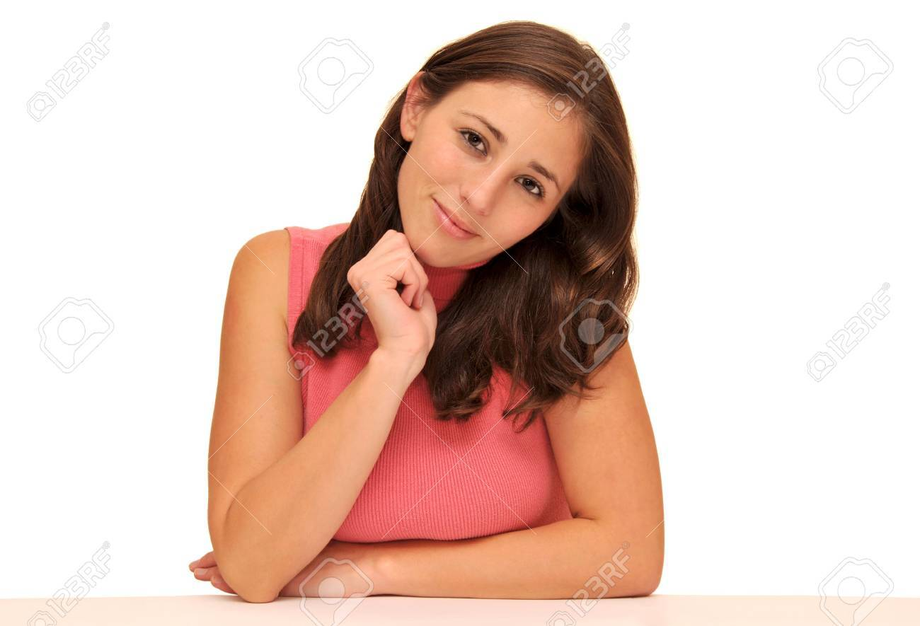 Beautiful young woman isolated over white background Stock Photo - 7889946
