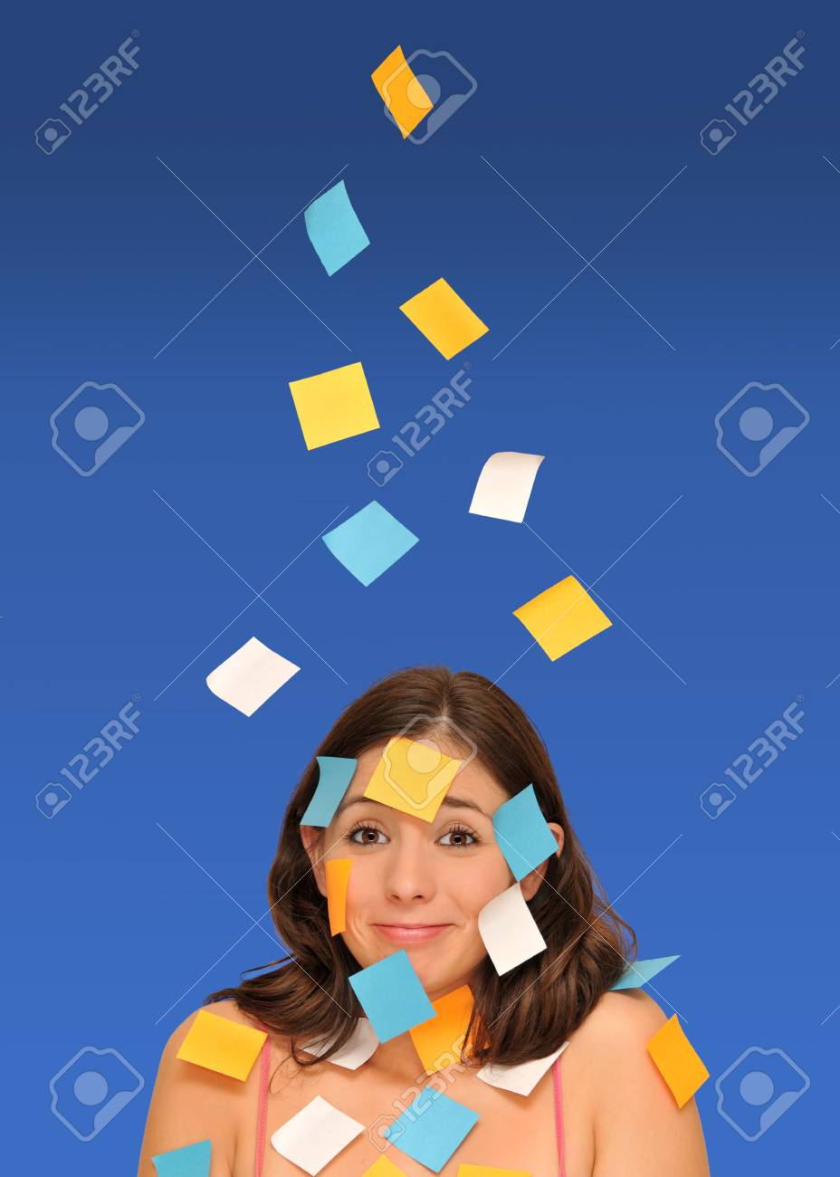 beautiful woman ans sticky notes isolated over blue Stock Photo - 8101812