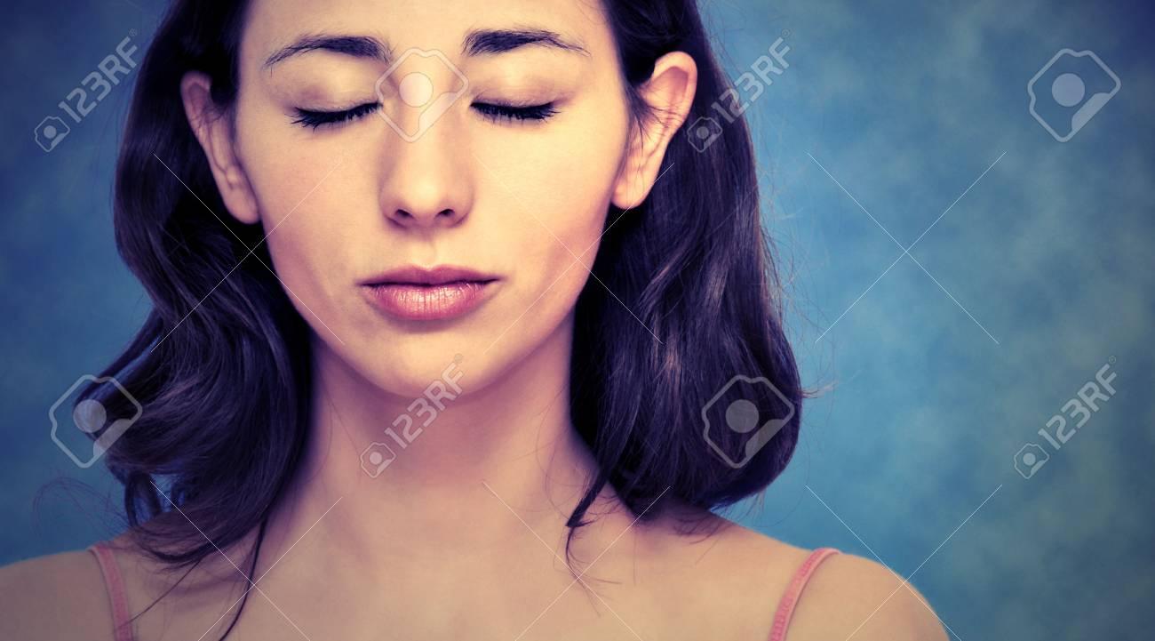 beautiful woman portrait over blue background Stock Photo - 8101815