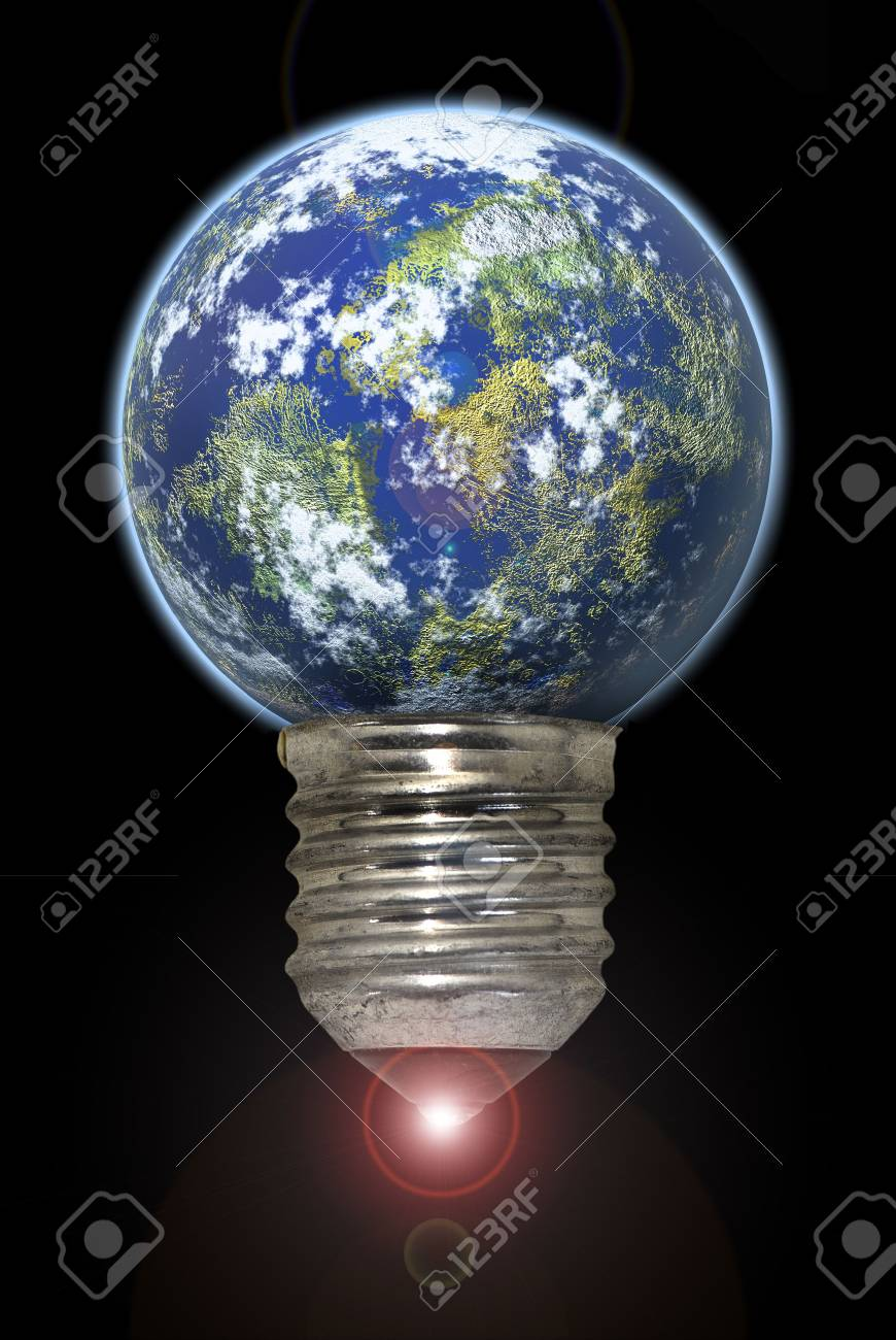 Lightbulb with planet isolated in black Stock Photo - 4192552