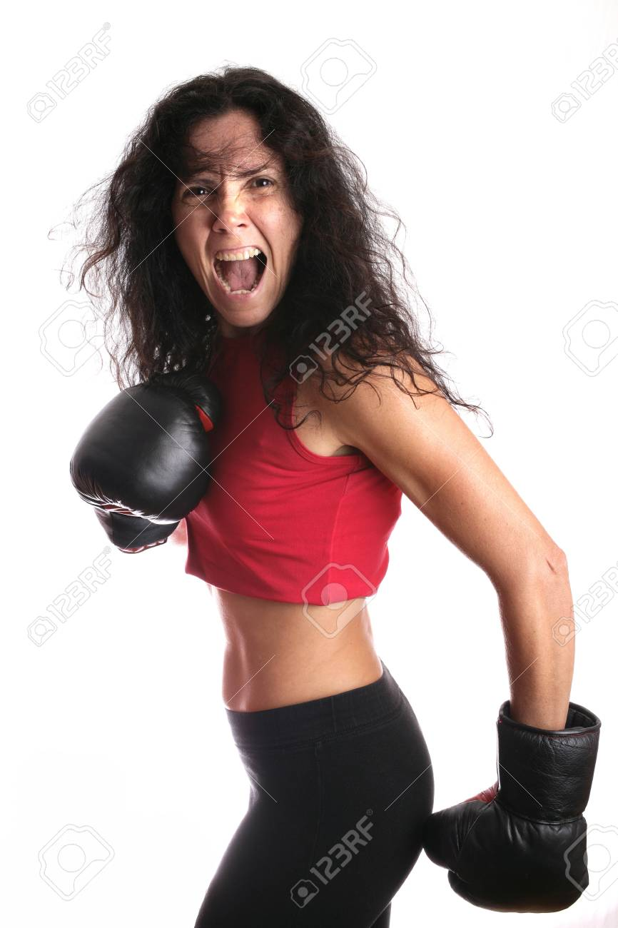 Young girl with boxing glove isolated in white Stock Photo - 4505562