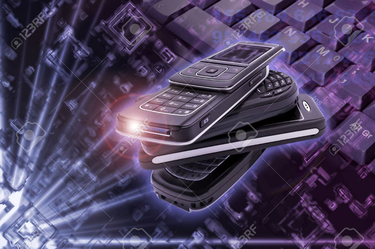 Several cellphones with hightech background Stock Photo - 4856399