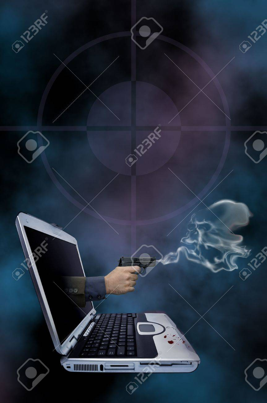 Illustration of a smoking gun coming out of a laptop Stock Illustration - 4972090