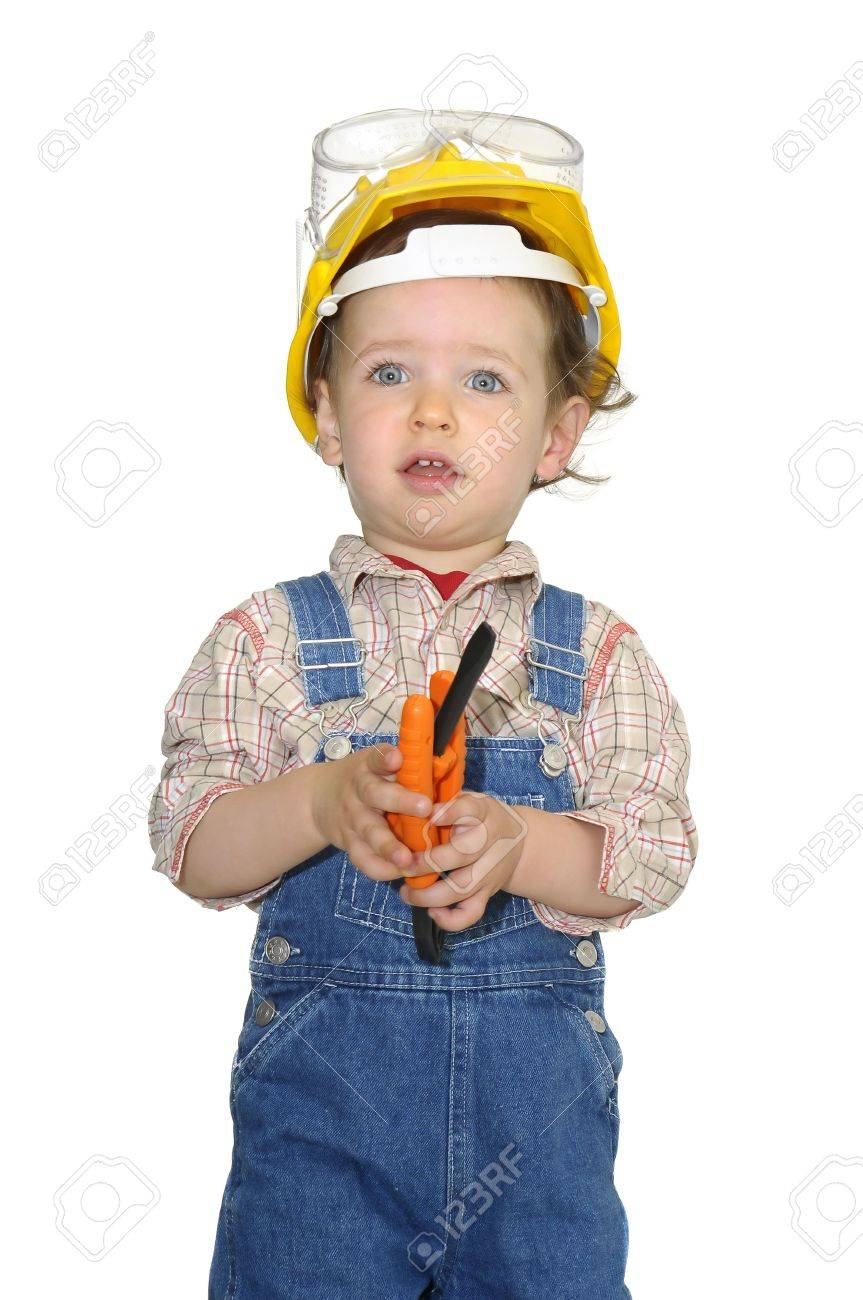 1891cd2defd Baby worker with hat and tools isolated in white Stock Photo - 5582829