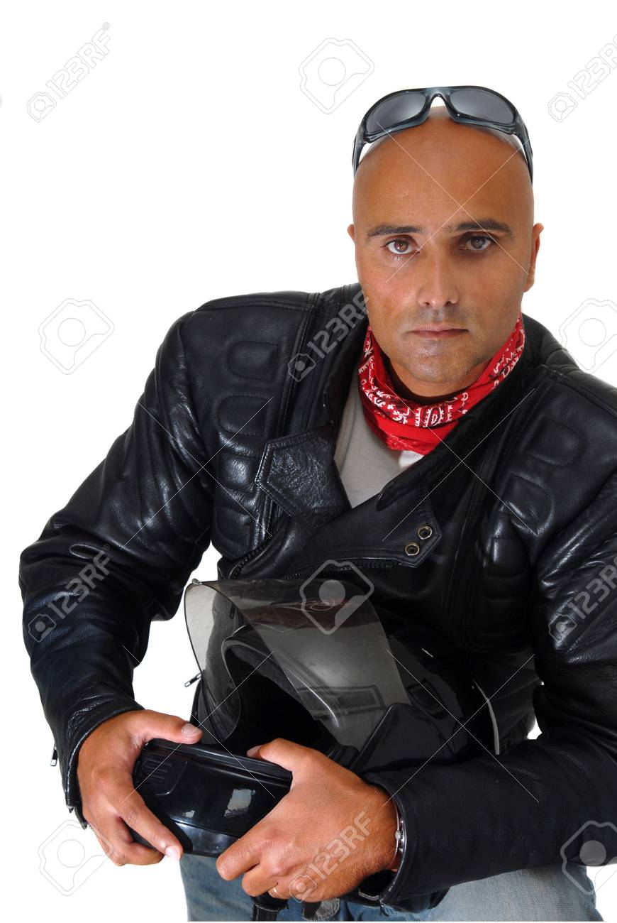 Motorbike rider isolated against a white background Stock Photo - 5996053
