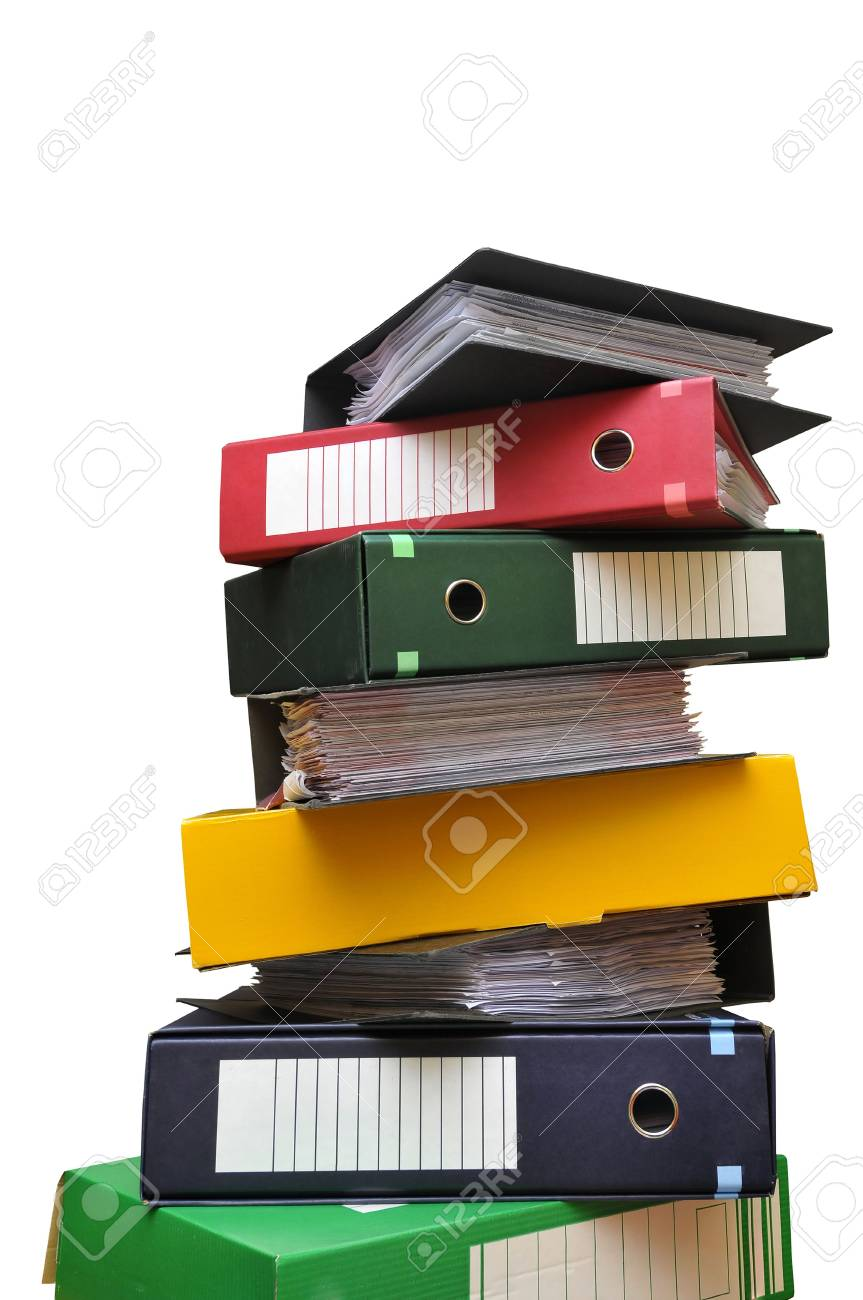 Stack of files isolated in white Stock Photo - 6033151