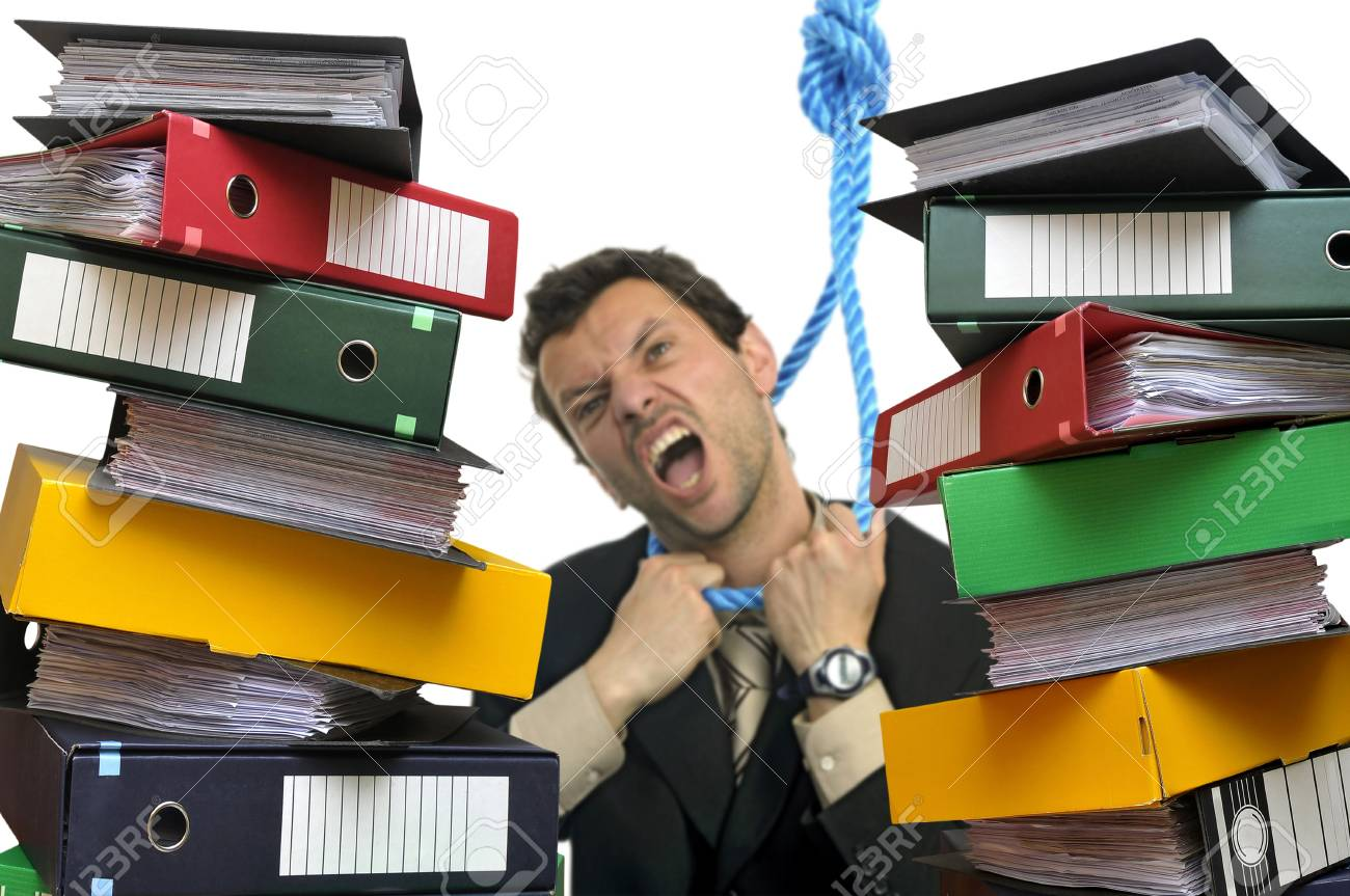 Desperate businessman hanging himself with files everywhere isolated in white Stock Photo - 6046152