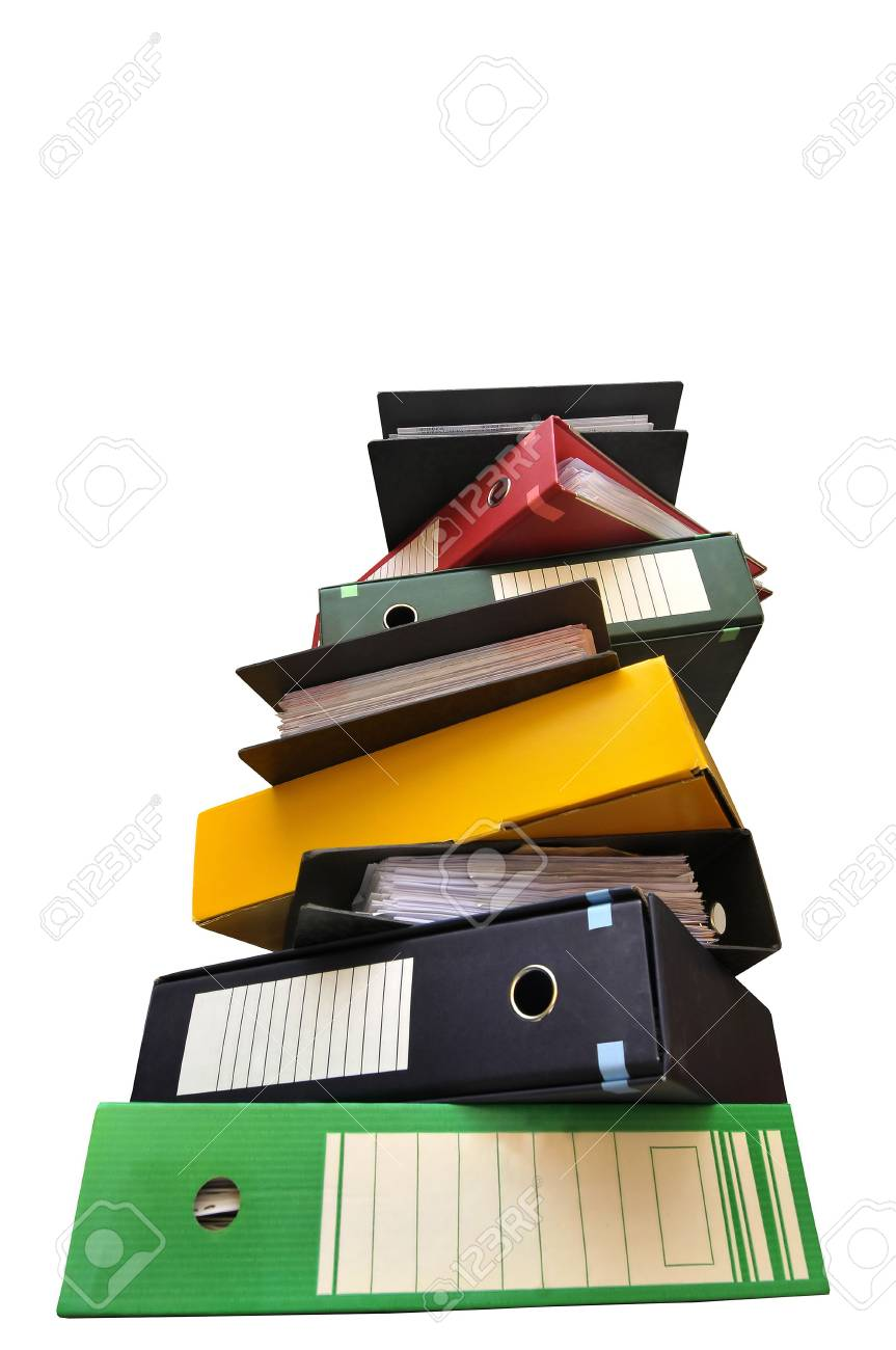 Stack of files isolated in white Stock Photo - 6081239