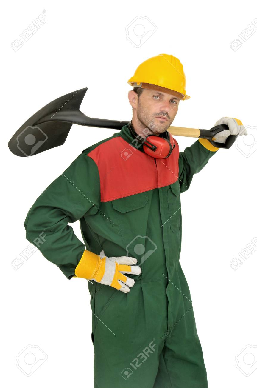 Construction worker with shovel isolated in white Stock Photo - 7968920