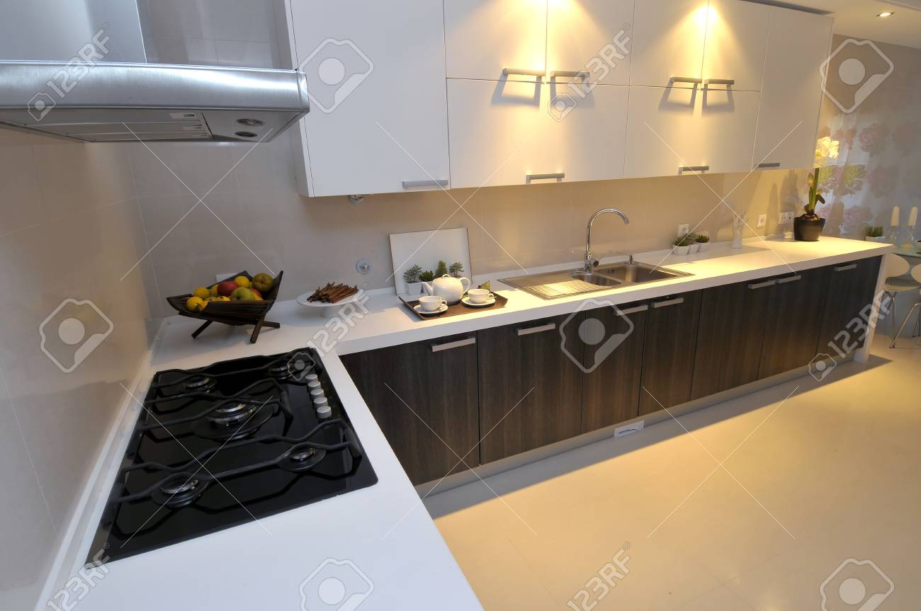 Modern apartment big kitchen with beautiful decoration Stock Photo - 8314344