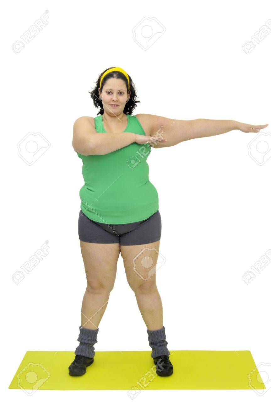 Large girl exercising isolated in white Stock Photo - 9213781