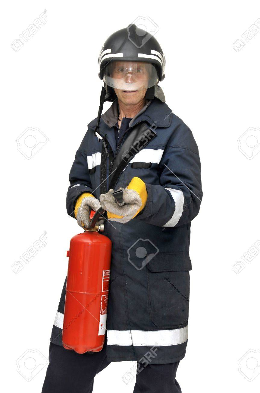 Fireman in uniform isolated in white Stock Photo - 9206701