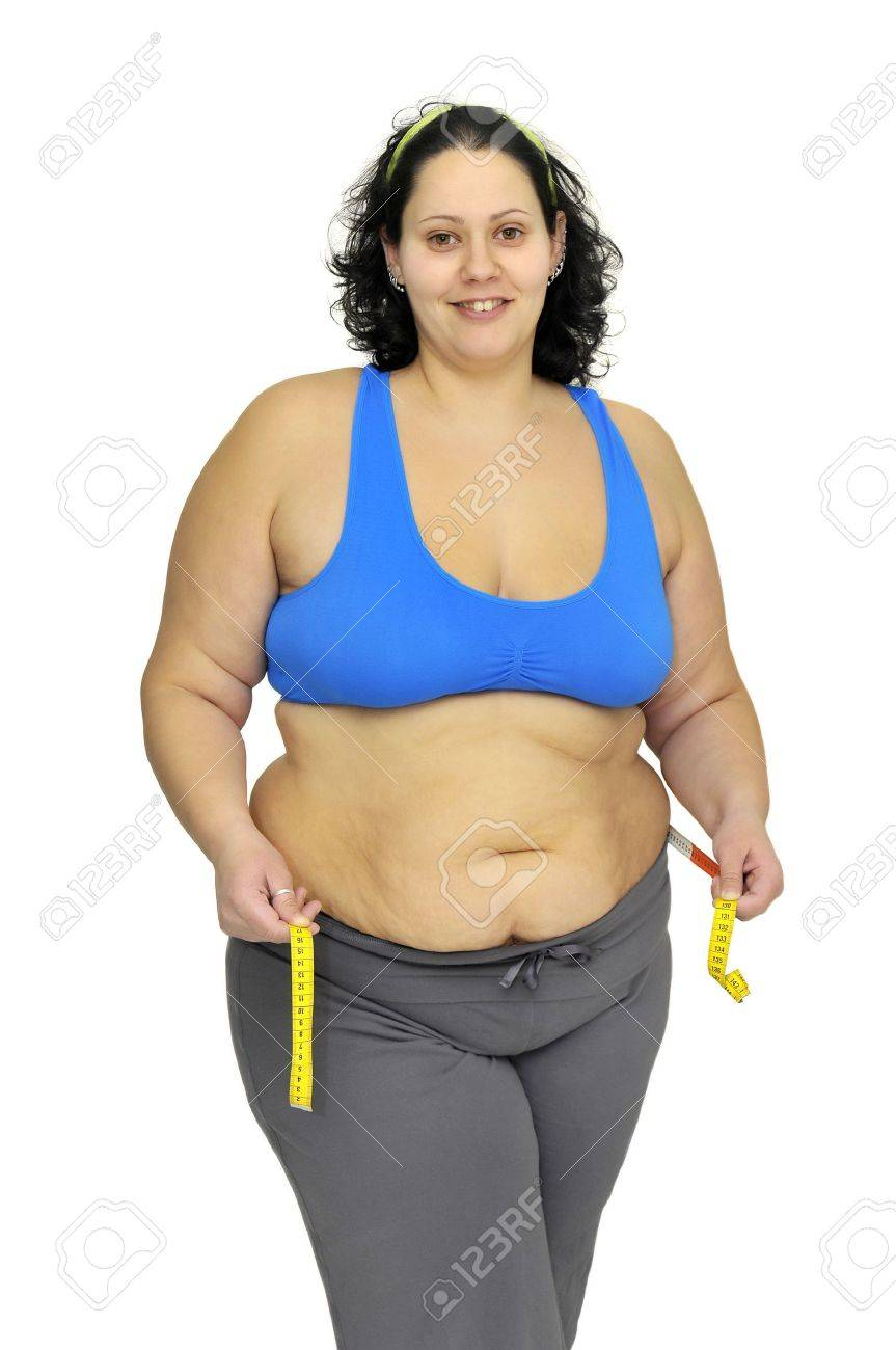 Large girl with measuring tape isolated in white Stock Photo - 9324090