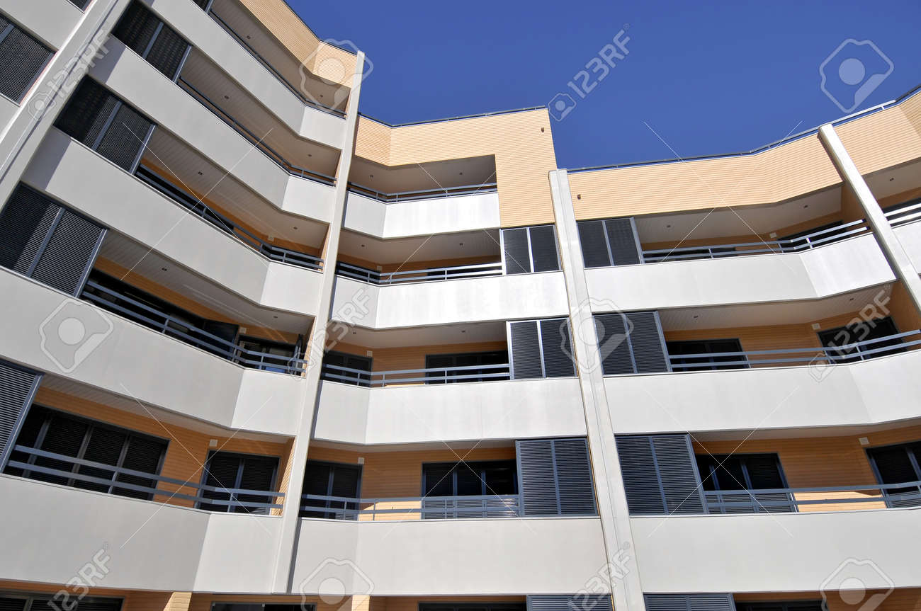 Image of a modern apartments outdoors view Stock Photo - 9378179