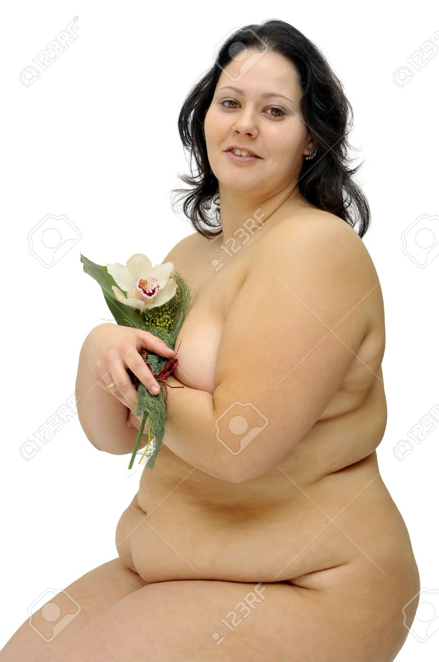 Beautiful nude large girl with a flower isolated in white Stock Photo - 9429552