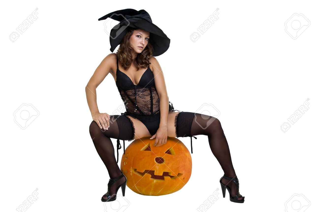Sexy Girl In Witch Costume Isolated In White Stock Photo, Picture ...