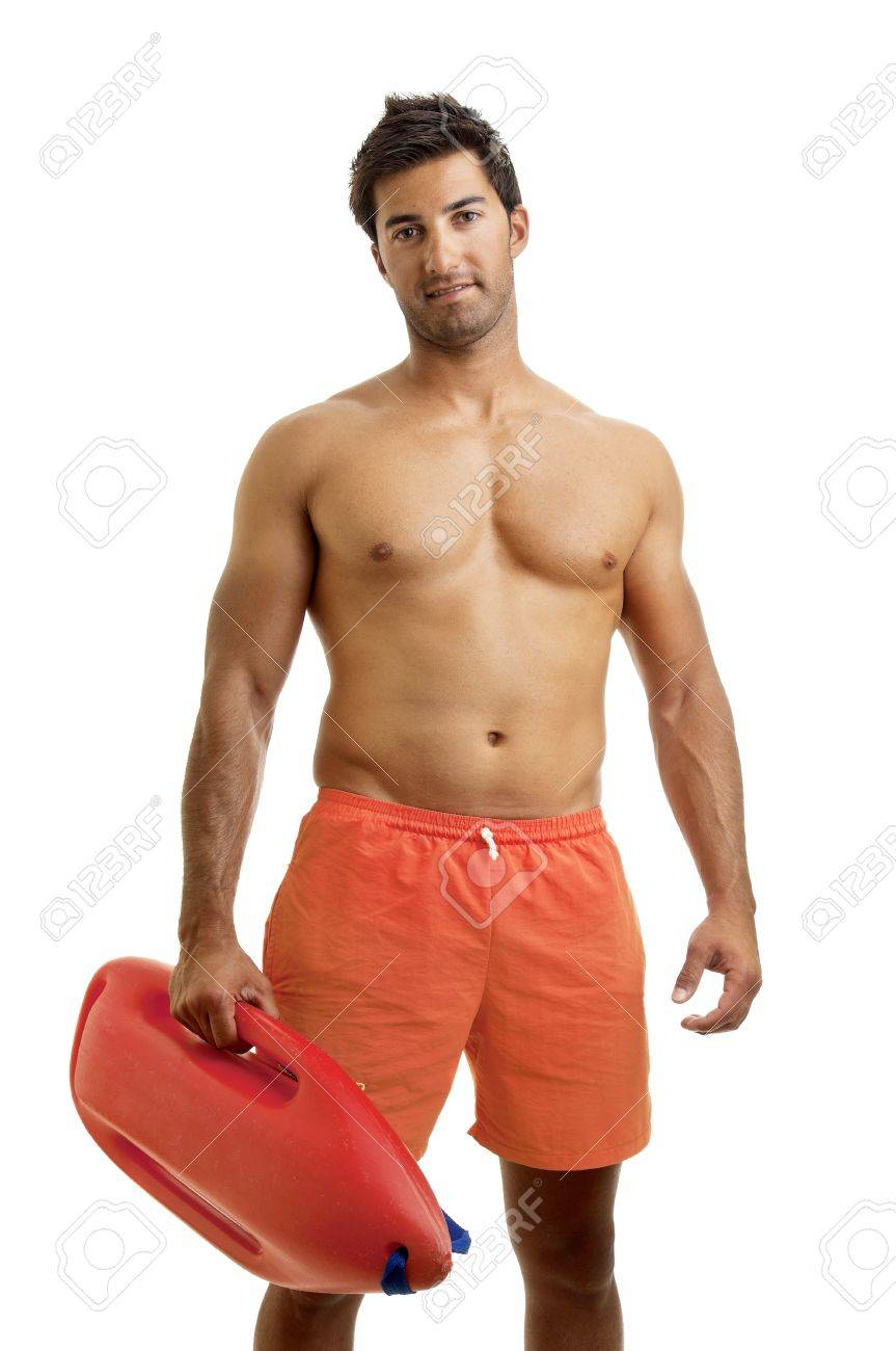 Muscular lifeguard isolated in white Stock Photo - 12962371