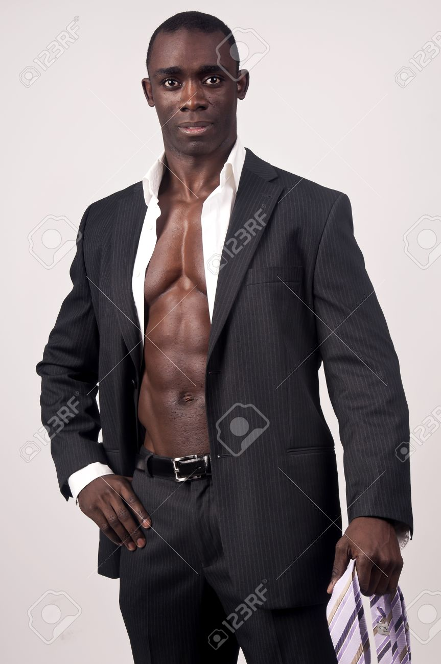 Young Black Man With Muscular Body And Suit Stock Photo, Picture ...