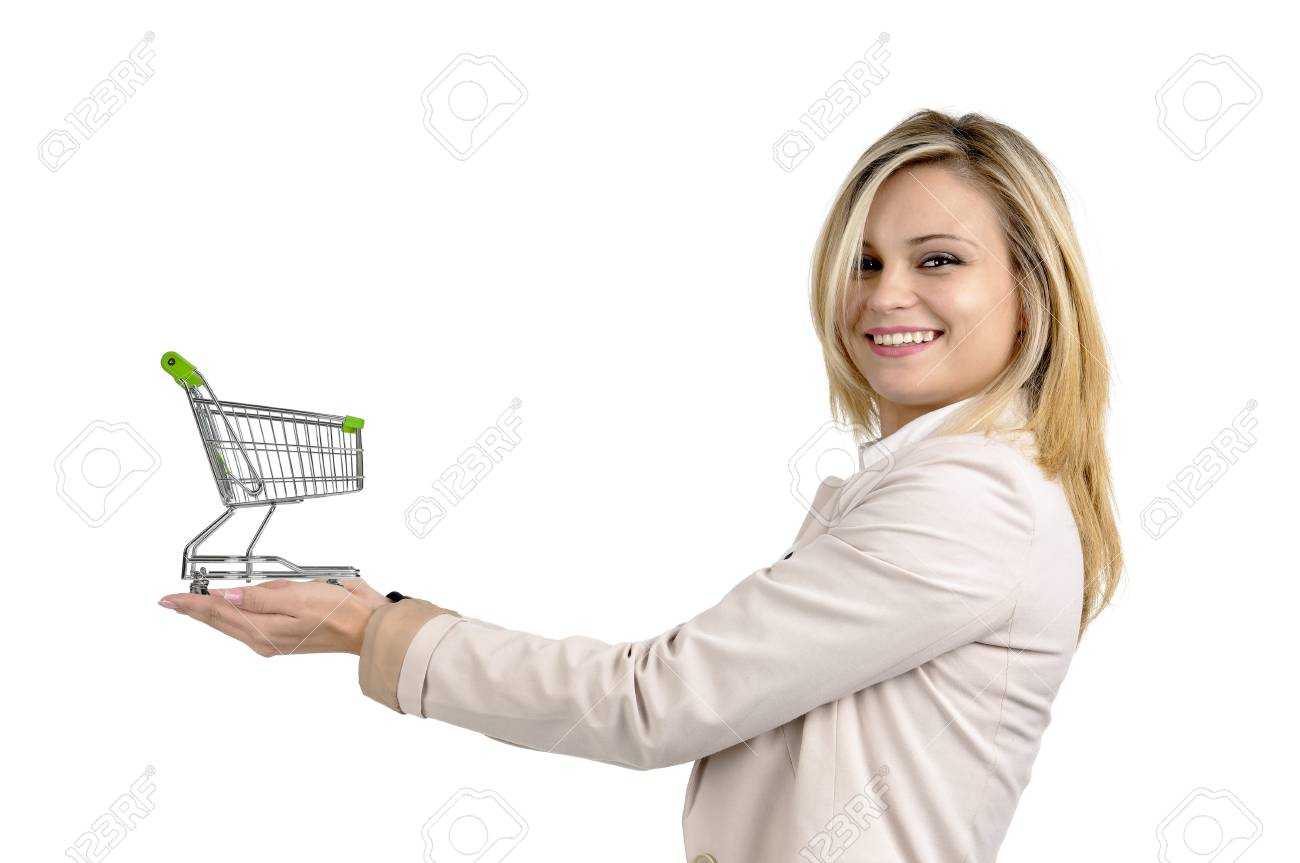 Woman with shopping cart isolated in white Stock Photo - 16523290