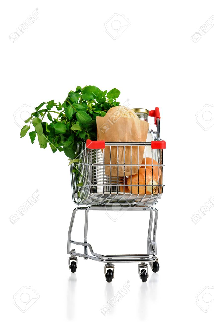 Shopping cart full with groceries isolated in white Stock Photo - 18155985